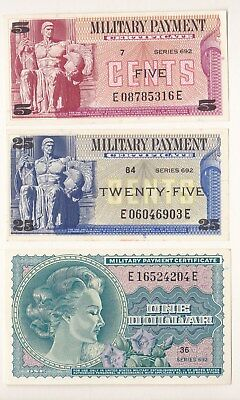 Military Payment Certificate 5, 25 cents and $1 Series 692 UNC.