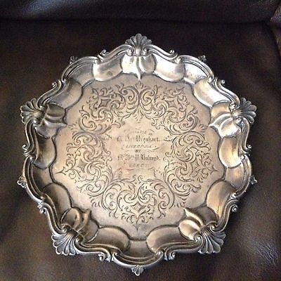 "ANTIQUE ENGLISH  VICTORIAN STERLING SILVER 7.2"" TRAY footed 1845 engraved LEEDs"