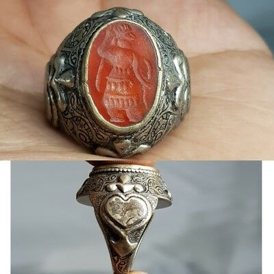 Antique Old King seal Agate stone Silver Rare Lovely Ring   # R2
