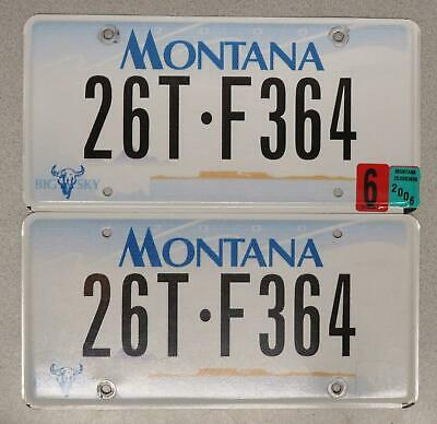 Montana License Plate Pair 26T-F364 - Flat 2000 Base - Big Sky - Pondera County