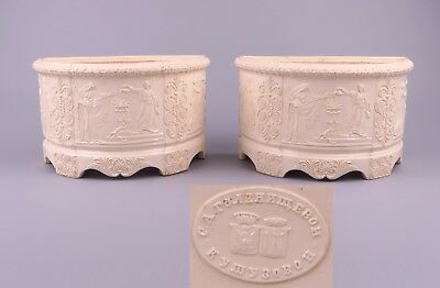 Antique Pair Imperial Russian Creamware - Faience Planters - Poskochin c1845