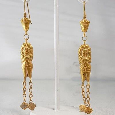 Antique 22k Solid gold Beautiful Queen Figures Old Lovely Earings   # w2