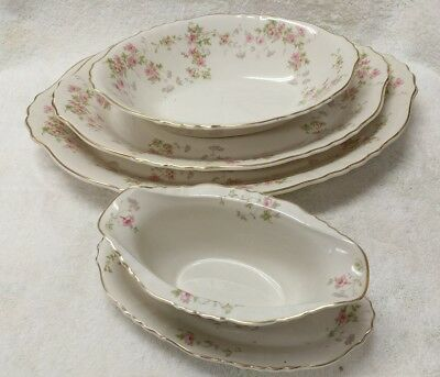 Syracuse China Stansbury Federal Shape Gold Gravy Boat with Serving Trays LOT