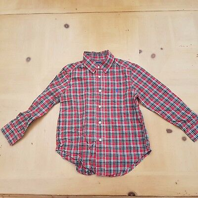 Ralph Lauren Boy's Red Checked Smart Occasion Shirt Size 3 to 4 Years