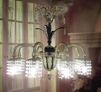 Antique Vintage Chandelier Bronze Grand French Empire 8 Light Crystal Fixture