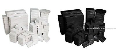 100 Assorted Size Black & White Swirl Cotton Fill Jewelry Packaging Gift Boxes