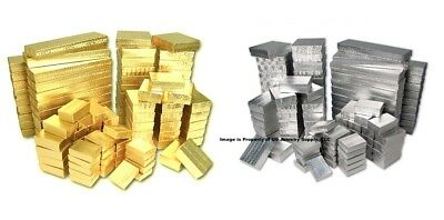 100 Assorted Size Gold & Silver Foil Cotton Filled Jewelry Packaging Gift Boxes