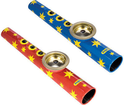 KAZOO by SCHYLLING instrument ALL METAL hum humming RED BLUE GREEN retro toy