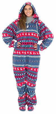 Red and Navy Humping Reindeer Ugly Christmas Pajama Suit with Hood