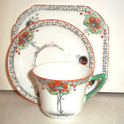 Very Pretty Fine Art Deco Shelley China Trio, Cup, saucer & Plate   c1930s 1of 4