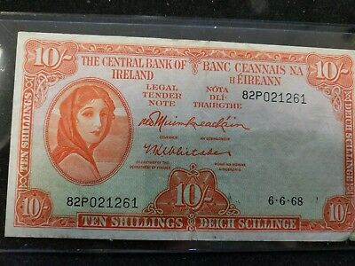 The Central Bank of Ireland 10 Schillings 11-8-50 Banknote P-56