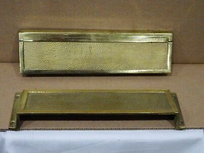 Rare Antique Vintage American Device Brass Mail Door Slot with Privacy Hood