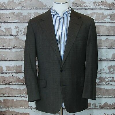 Oxxford Clothes sz 43 Long Sport Coat Blazer Olive  Brown Houndstooth 43L