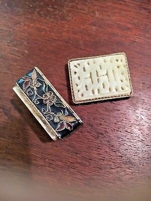 Vintage Chinese/Japanese/Asian carved jade enamel silver miniature pill snuf box
