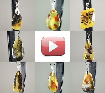 Natural Baltic amber pendants Sterling Silver