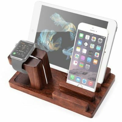 Rosewood Charge Holder Docking Station Cradle Bracket For Apple Watch Pad iPhone