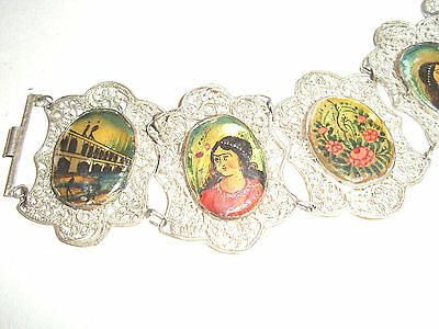 Rare Vintage Solid Silver Mother Pearl Handpainted Indian Figural panel Bracelet