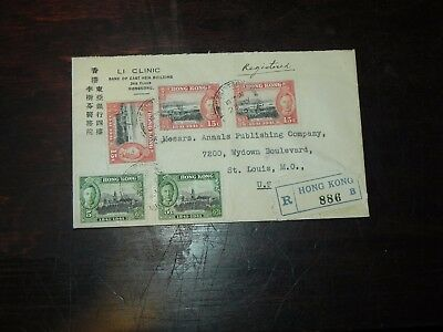 British Hong Kong Registered Letter Scott 170, 171 - May 1941 to US - WWII JCstg