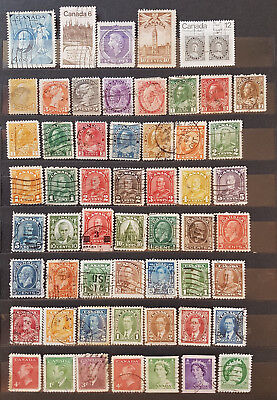 LOT OF CANADA OLD STAMPS - USED/SOME UNUSED (2 pages)