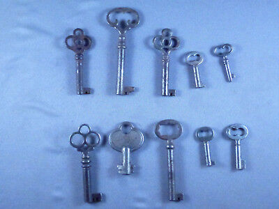 Vintage Lot of 10 Hollow Barrel Skeleton Keys