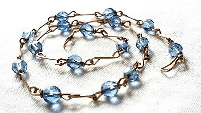 Vintage Retro Sapphire Blue Faceted Glass Bead Necklace On Rolled Gold Wire