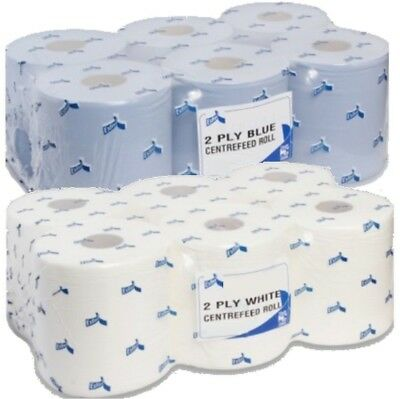(Premium Quality)12 Rolls 2 Ply Blue/ White Centrefeed Embossed 400+ Sheets