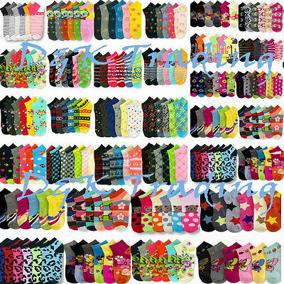 Women Girl Mixed Assorted Designs Color Ankle Noshow Novelty Socks Wholesale Lot