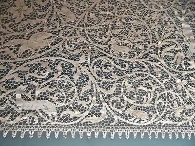 "Antique Italian Cantu Figural Bobbin Lace Birds Animals 108""L Banquet Tablecloth"