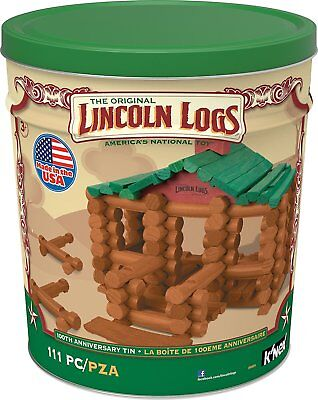 Wood LINCOLN LOGS 100th Anniversary Tin 111 All-Wood Pieces 3+ Fun Education Toy
