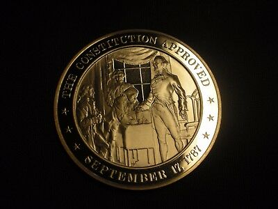Constitution Approved  Solid Bronze Coin Franklin Mint