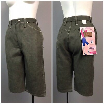 Vintage NOS 50s Gray Denim Jeans Bermuda Shorts Clam Diggers Blue Bell S
