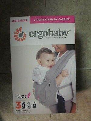 NEW! Ergobaby Baby Carrier Susan G. Komen 3 Position Pink Grey, Limited Edition