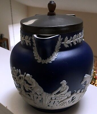 "English Adams C 1896 Blue Jasper 5-1/2"" Lidded Pitcher: Hunting Scene"
