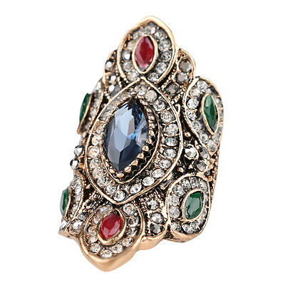 Red Crystal Rhinestone Antique Gold Plated Blue Sapphire Mosaic Statement Ring