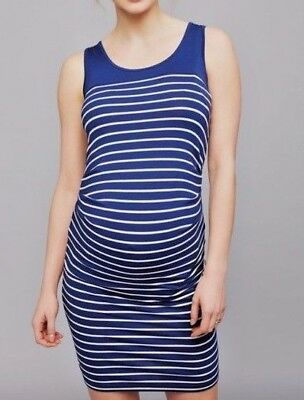 Seraphine Maternity Striped Ruched Blue White Sheath Dress Career Casual US 4