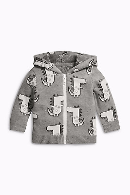 Next A/w 2017 Grey Dinosaur Knitted Cardigan Age 6  ~ 9 Mths Bnwt