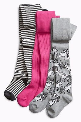 Next A/w 2017 3 Pk Grey & Pink Unicorn Print Tights Age 3 ~ 4 Yrs Bnwt