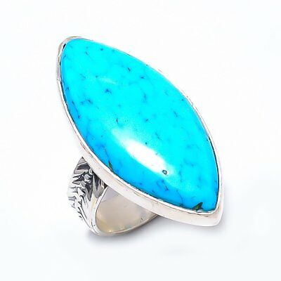 Egyptian Sleeping Beauty Turquoise Vintage Style 925 Sterling Silver Ring 8(761)