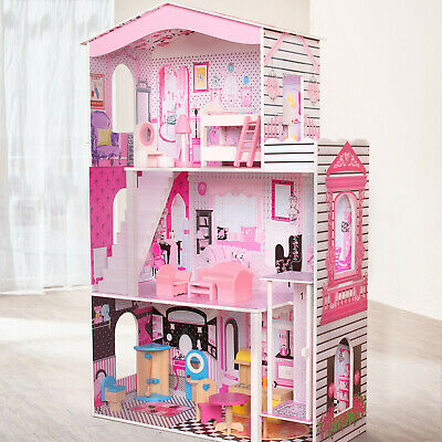 Large Wooden Dolls House Kids Doll House 17PCS Furniture & Staircase - Cottage