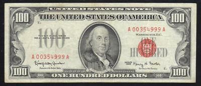 Fr 1550 1966 $100 Legal Tender Note RED SEAL United States Note A00354999A