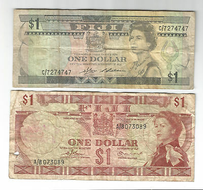 Fiji old pair of $1 dollar paper notes QEII