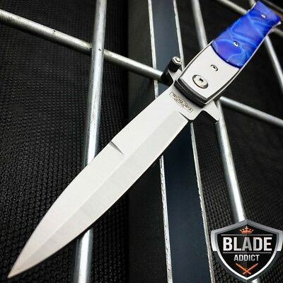 "9"" Italian Milano Stiletto Tactical Spring Assisted Open Pocket Knife Blue edc-S"