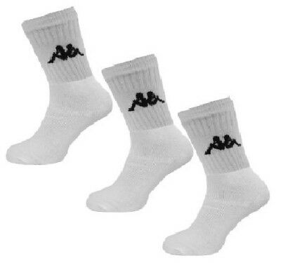 3 PACK - KAPPA Logo Sports Socks - White - Mens Womens Unisex, 3 pairs