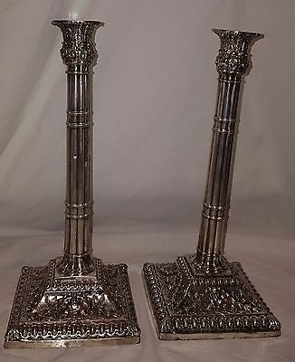 Georgian Corinthian antique sterling silverplate floral column candlesticks pair