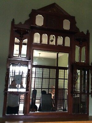 antique mahogany Over mantle Mirror