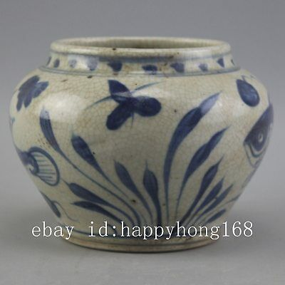 Chinese old hand-carved porcelain Blue and  white fish grass pattern pot