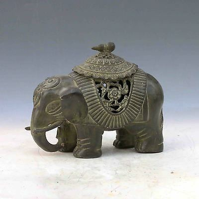 Chinese Bronze Handwork Carved Elephant Shape Incense Burner &Lid gd1911