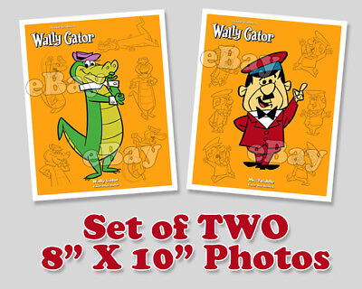 Rare! Set of 2! WALLY GATOR Cartoon Color TV Photos HANNA BARBERA Studios