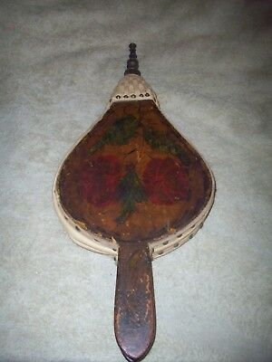 Vintage Fireplace Bellows with Brass End Still works Flower design