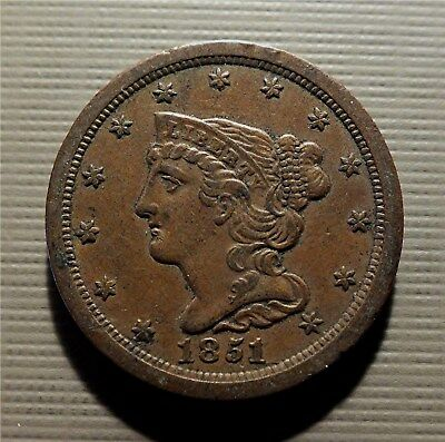 U.s. 1851 -  Braided Hair Copper Half Cent- Rare. Super Low Mtg. Km#70 Hcrm01